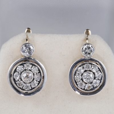 OUTSTANDING EDWARDIAN 2.10 CT DIAMOND RARE DROP EARRINGS!