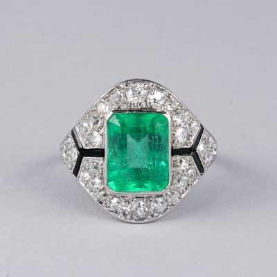 DIVINE FRENCH CERTIFIED COLOMBIAN EMERALD DIAMOND RARE RING!