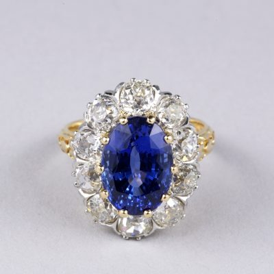 EDWARDIAN  CERTIFIED UNTREATED 6.50 CT BURMA SAPPHIRE 3.30 CT DIAMOND RARE RING!