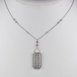 DIVINE VINTAGE DIAMOND PENDANT NECKLACE LATE VINTAGE!