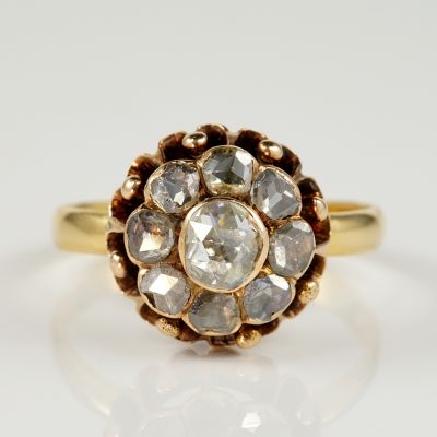EXQUISITE GEORGIAN 1.40 CT DIAMOND RARE CLUSTER RING!