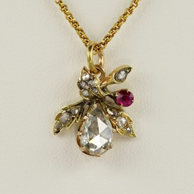 GEORGIAN .75 CT DIAMOND PLUS GORGEOUS LEAF PENDANT!