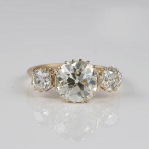 EDWARDIAN 4.22 CT OLD MINE DIAMOND K/L VVS1 STUNNING TRILOGY RING!