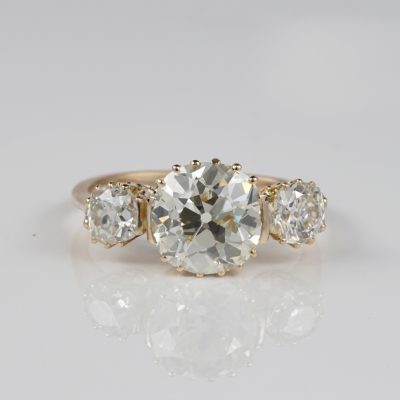 EDWARDIAN 4.22 CT OLD MINE DIAMOND K VVS1 STUNNING TRILOGY RING!