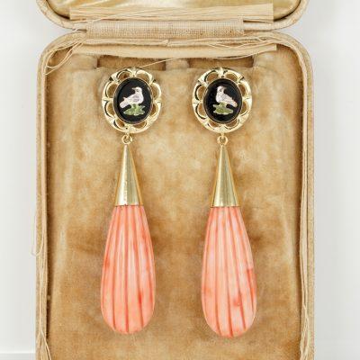 Superb Micro mosaic Torpedo Coral Drop Vintage earrings