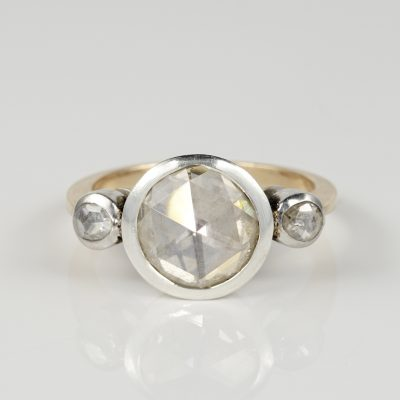 LATE VICTORIAN 3.50 CT ROSE CUT DIAMOND PLUS TRILOGY RING!