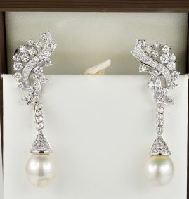 SPECTACULAR SOUTH SEA PEARL 3.70 CT DIAMOND NIGHT DAY DROP EARRINGS!