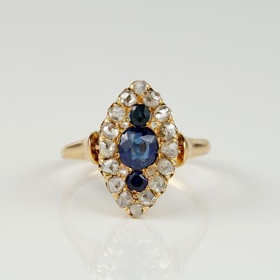 VICTORIAN BURMA SAPPHIRE ROSE CUT DIAMOND NAVETTE RING!