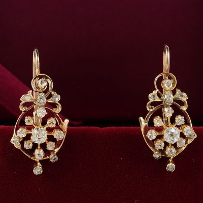 DISTINCTIVE VICTORIAN 1.80 CT DIAMOND RARE DROP EARRINGS!