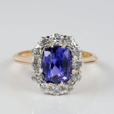 ART DECO 3.90 CT NO HEAT CEYLON SAPPHIRE .85 CT DIAMOND ENGAGEMENT RING