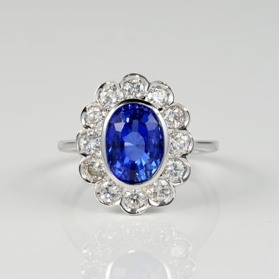 SPECTACULAR 4.50 CT NATURAL NO HEAT CEYLON SAPPHIRE 1.80 CT DIAMOND RING!