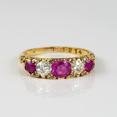 VICTORIAN BURMESE RUBY DIAMOND CARVED HALF HOOP RING!