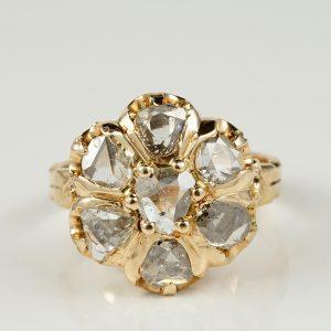 AUTHENTIC VICTORIAN 2.0 CT ROSE CUT DIAMOND RARE 1890 CA RING ROSE GOLD!