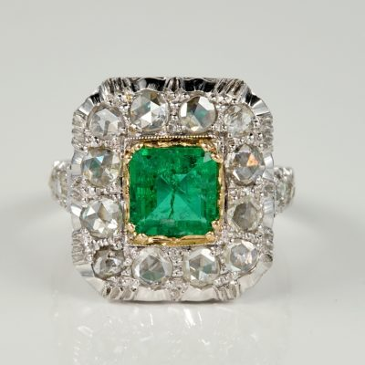 EARLY ART DECO 1.20 CT COLOMBIAN EMERALD 2.40 CT ROSE CUT DIAMOND RING!