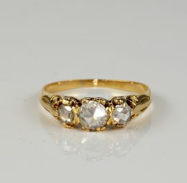 VICTORIAN DIAMOND ROSE CUT RARE TRILOGY RING!