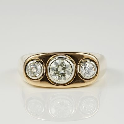 SPECTACULAR VICTORIAN 1.05 CT DIAMOND GENT TRILOGY RING!