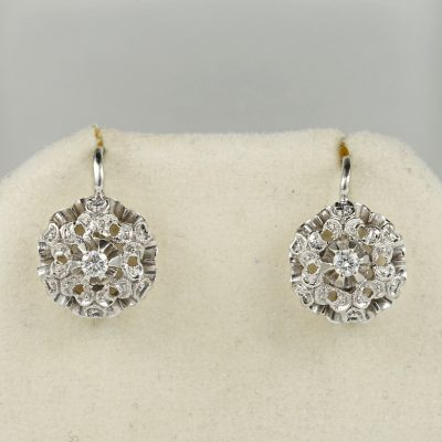 Charming diamond flower vintage earrings 1950 ca