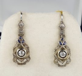 ART DECO DIAMOND AND BLUE SAPPHIRE RARE PENDENT EARRINGS