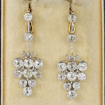 SPECTACULAR ART DECO 4.90  CT DIAMOND PLATINUM DROP EARRINGS!