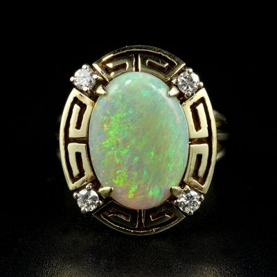 LATE ART DECO 2.90 CT OPAL .30 CT DIAMOND RARE RING!