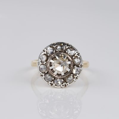 VICTORIAN ROSE CUT DIAMOND RARE CLUSTER RING!