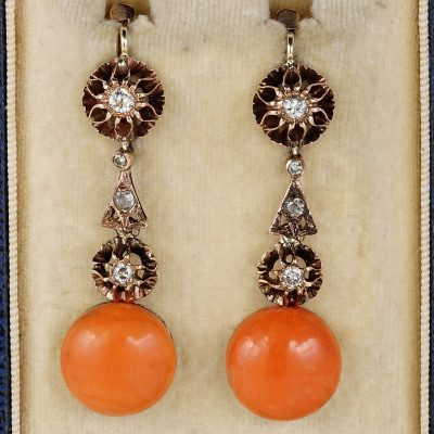 Fabulous Art Deco Natural Coral & Diamond Rare Drop earrings