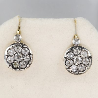 SPECTACULAR VICTORIAN 1.80 CT DIAMOND RARE DROP EARRINGS
