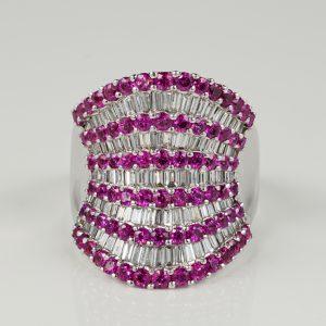 SPECTACULAR 6.0 CT DIAMOND 5.50 PINK SAPPHIRE DESIGNER RING!