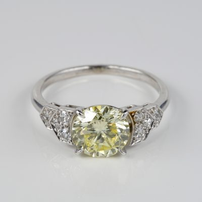 FRENCH MID CENTURY CERTIFIED 1.91 CT FANCY YELLOW PLUS PLATINUM RING!