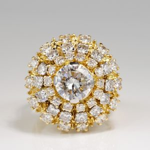 SPECTACULAR 2.20 CT DIAMOND PLUS 2.90 CT DIAMOND VINTAGE CLUSTER RING