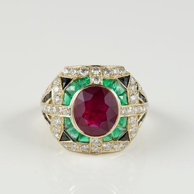 SUPERB 2.97 CT RUBY ONYX EMERALD 1.60 CT DIAMOND RARE VINTAGE RING