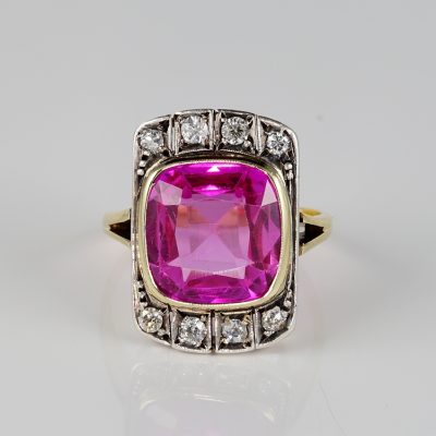 Edwardian Sapphire Diamond Rare Panel Ring