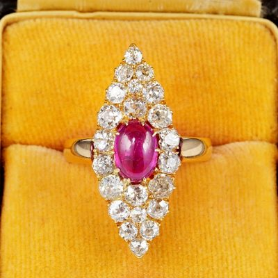 EXQUISITE VICTORIAN BURMA RUBY DIAMOND  MARQUEE RING