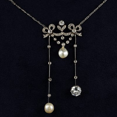 EDWARDIAN CERTIFIED NATURAL PEARL DIAMOND PLATINUM NECKLACE