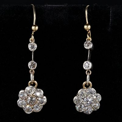 AUTHENTIC VICTORIAN  2.80 CT OLD MINE DIAMOND DROP EARRING