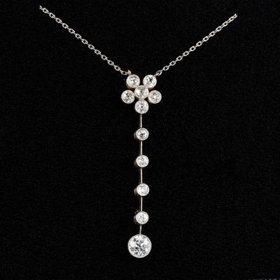 Edwardian Platinum 1.75 Ct Diamond  Platinum Negligee Necklace