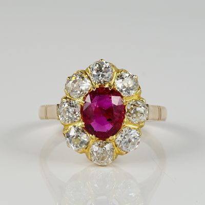 SPECTACULAR VICTORIAN 1.40 CT NO HEAT RUBY 2.00 CT DIAMOND RING