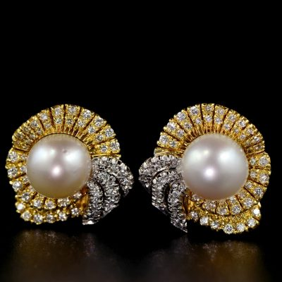 SPECTACULAR SOUTH SEA PEARL 2.20 CT DIAMOND BOW EARRINGS
