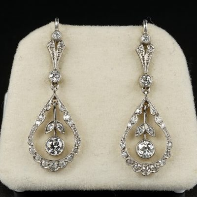 Sensual Belle Epoque 1.30 Ct Diamond Platinum Drop Earrings