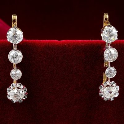 Spectacular Victorian French 3.40 Ct Diamond Rare Drop Earrings