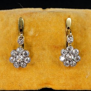 Victorian 2.0 Ct Old Mine Cut Diamond Rare Floret Daisy Earrings
