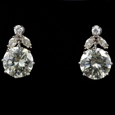 Art Deco 4.20 Ct Brilliant Cut Diamond Solitaire Plus Platinum Earrings
