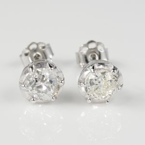 Spectacular Edwardian 1.0 Ct Old Mine Diamond Solitaire Studs