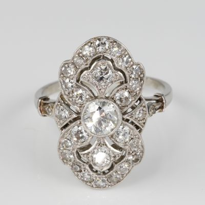 French Belle Epoque 2.35 Ct Diamond Platinum Panel Ring