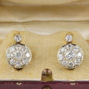 Spectacular Edwardian 2.10 Ct Diamond Cluster Earrings