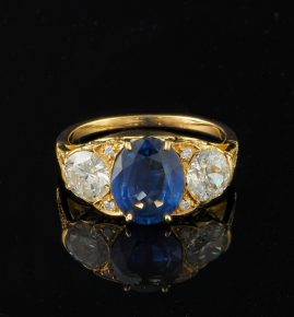 SPECTACULAR VICTORIAN 2.60 CT NO HEAT SAPPHIRE 1.40 CT OLD CUT DIAMOND RARE RING