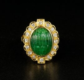 Sophisticate Moghul emerald and diamond vintage ring