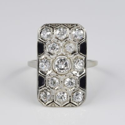 Spectacular Austro Hungarian Art Deco Diamond and onyx Panel ring