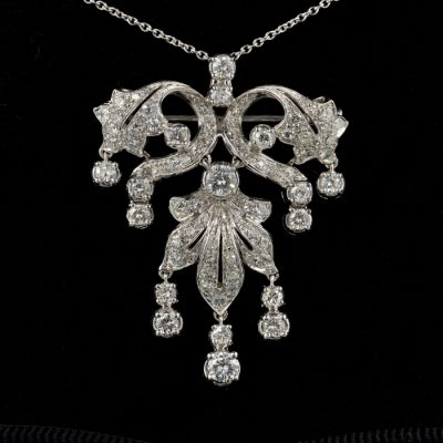 Impressive Vintage Over 4.0 Ct Diamond  Brooch Pendant Centre Piece