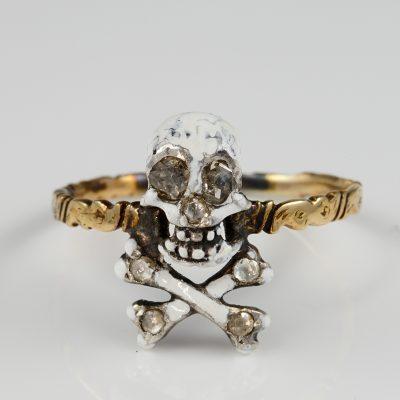Georgian Rare Diamond White Enamelling Skull and Bone Memento Mori Ring